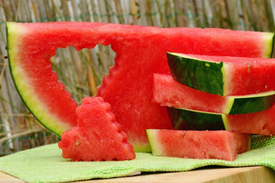 Colorful slices of watermelon