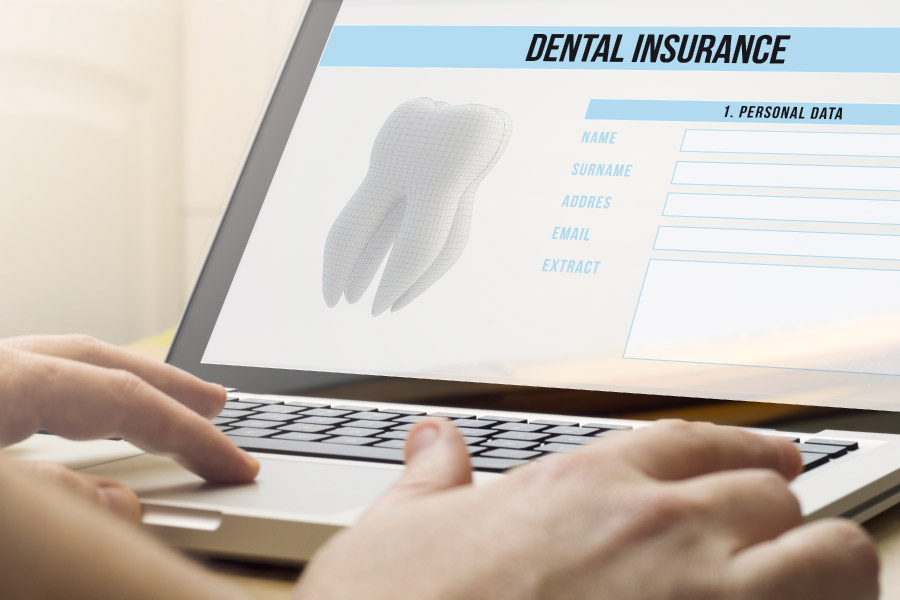 Computer screen showing the particulars of dental insurance benefits.